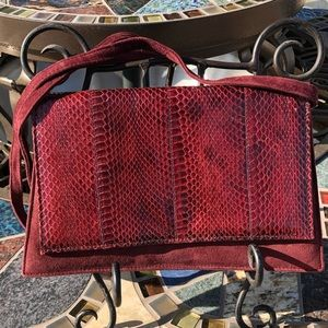 Saks Fifth Ave Burgundy Snakeskin Crossbody